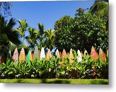 Surfboard Fence - Left Side Metal Print by Paulette B Wright