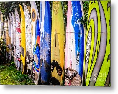Surfboard Fence Maui Hawaii Metal Print by Edward Fielding