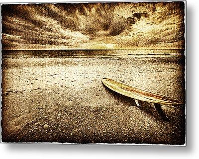 Surfboard On The Beach 2 Metal Print by Skip Nall