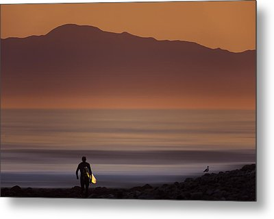 Metal Print featuring the photograph Surfer Approaching Rincon Mg_9505 by David Orias