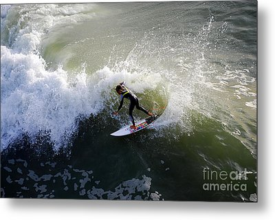Surfer Boy Riding A Wave Metal Print by Catherine Sherman