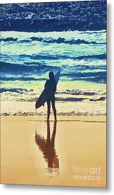 Surfer Girl Metal Print by Andrea Auletta