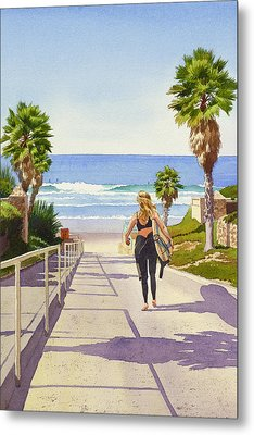 Surfer Girl At Fletcher Cove Metal Print