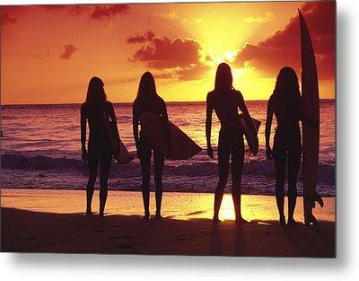 Surfer Girl Silhouettes Metal Print