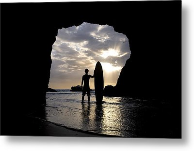 Surfer Inside A Cave At Muriwai New Metal Print
