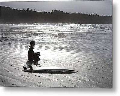 Surfer Meditating On Beach, Cox Bay Metal Print