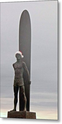 Metal Print featuring the photograph Surfer Santa  by Lora Lee Chapman