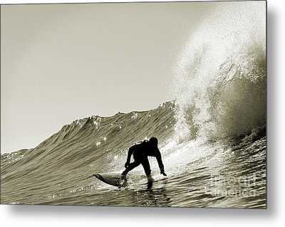 Metal Print featuring the photograph Surfer Sepia Silhouette by Paul Topp