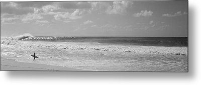 Surfer Standing On The Beach, North Metal Print