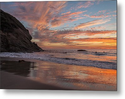 Surfers And Sunset At Strands Beach Dana Point Metal Print