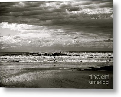 Surfers B And W Metal Print by Colleen Mars