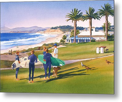 Surfers Gathering At Del Mar Beach Metal Print