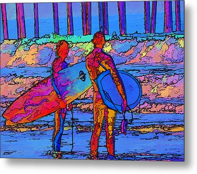 Metal Print featuring the photograph Surfers by Kathy Churchman