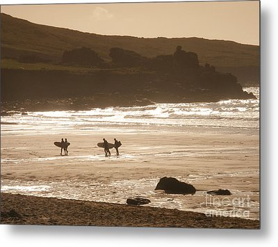 Surfers On Beach 02 Metal Print by Pixel Chimp