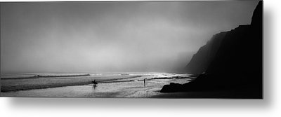 Surfers On The Beach, Point Reyes Metal Print by Panoramic Images