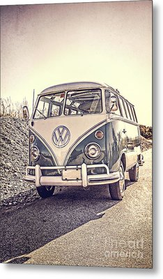 Surfer's Vintage Vw Samba Bus At The Beach Metal Print