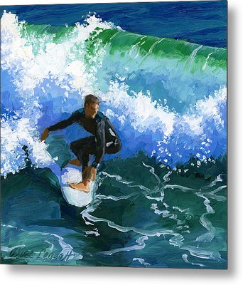Surfin' Huntington Beach Pier Metal Print by Alice Leggett