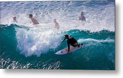Surfing Maui Metal Print by Adam Romanowicz