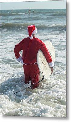 Surfing Santas, Surfboards, Cocoa Metal Print