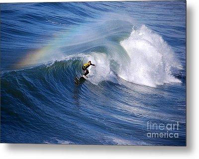 Surfing Under A Rainbow Metal Print