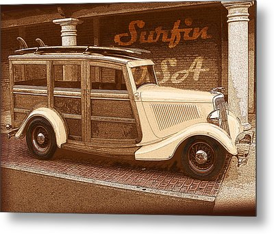 Surfing Usa Woodie Metal Print