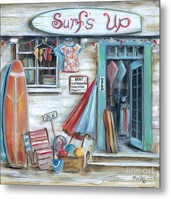 Surfs Up Beach Shop Metal Print