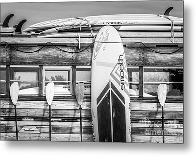 Surfs Up - Vintage Woodie Surf Bus - Florida - Black And White Metal Print by Ian Monk