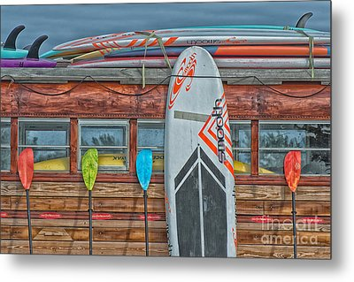 Surfs Up - Vintage Woodie Surf Bus - Florida - Hdr Style Metal Print by Ian Monk