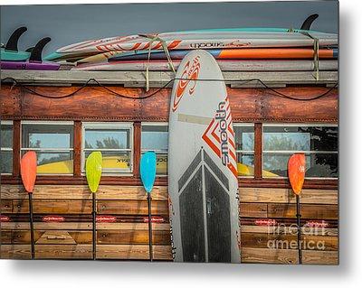 Surfs Up - Vintage Woodie Surf Bus - Florida Metal Print by Ian Monk