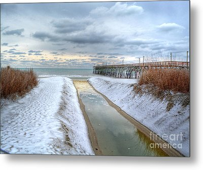 Surfside Beach Pier Ice Storm Metal Print
