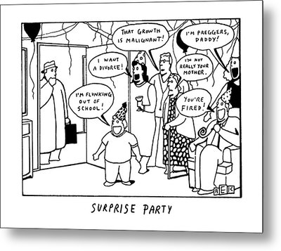 Surprise Party Metal Print by Bruce Eric Kaplan