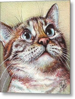 Surprised Kitty Metal Print