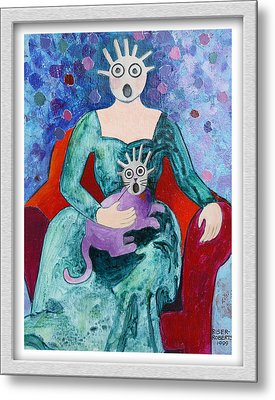 Surprised Woman With Frightened Cat Metal Print by Eve Riser Roberts