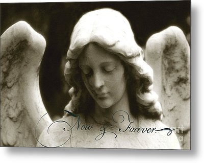 Angel Photography - Beautiful Angel Face With Inspirational Message Metal Print