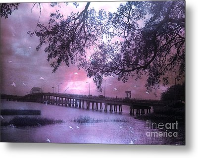 Surreal Beaufort South Carolina Nature And Bridge  Metal Print by Kathy Fornal