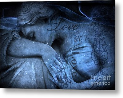 Surreal Blue Sad Mourning Weeping Angel Lost Love - Starry Blue Angel Weeping With Love Script Metal Print