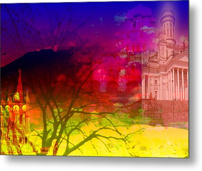 Metal Print featuring the digital art Surreal Buildings  by Cathy Anderson