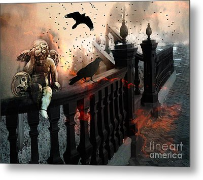 Surreal Dark Fantasy Gothic Cherub Skull And Ravens - The End Days - Apocolyptic  Metal Print by Kathy Fornal