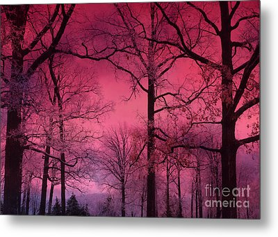 Surreal Dark Pink Fantasy Nature - Haunting Dark Pink Sky Nature Tree Forest Woodlands Metal Print