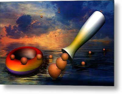 Surreal Dinner Served Over The Ocean Metal Print by Angela A Stanton