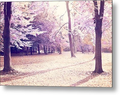 Surreal Dreamy Earthy Fall Autumn Trees Ethereal Landscape Metal Print by Kathy Fornal