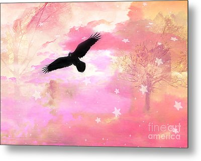 Surreal Dreamy Fantasy Ravens Pink Sky Scene Metal Print by Kathy Fornal