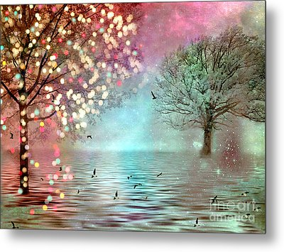 Surreal Dreamy Twinkling Fantasy Sparkling Nature Trees Metal Print by Kathy Fornal