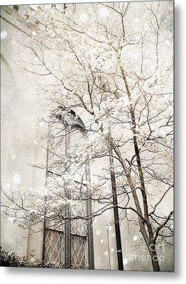 Surreal Dreamy Winter White Church Trees Metal Print by Kathy Fornal