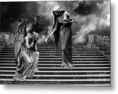 Surreal Fantasy Angels Weeping Black And White Print - Angels Cry Too Metal Print