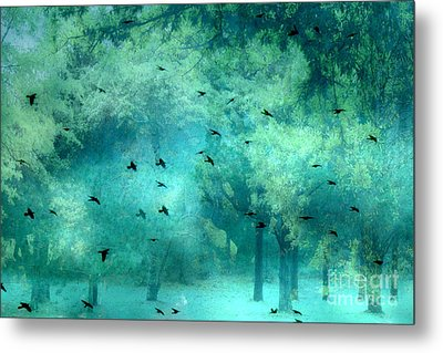 Surreal Fantasy Aqua Teal Woodlands Trees With Ravens Flying Metal Print by Kathy Fornal