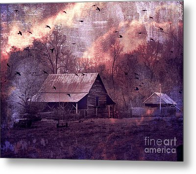 Surreal Fantasy Barn Landscape With Ravens Metal Print by Kathy Fornal