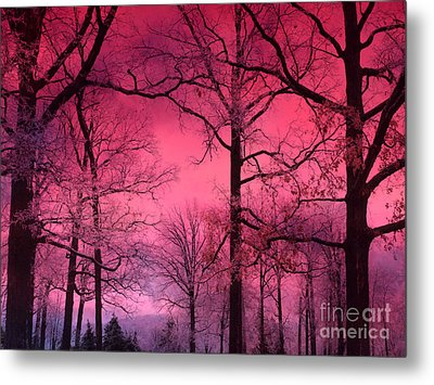 Surreal Fantasy Dark Pink Forest Woodlands Trees With Dark Pink Haunting Sky - Fantasy Pink Nature  Metal Print