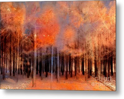Surreal Fantasy Ethereal Trees Autumn Fall Orange Woodlands Nature  Metal Print by Kathy Fornal