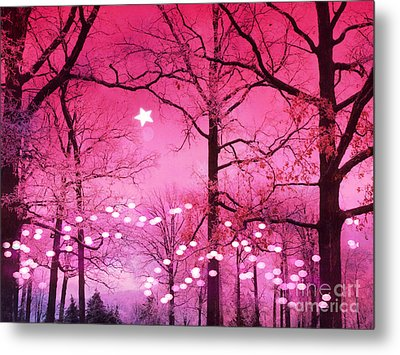Surreal Fantasy Fairytale Dark Pink Haunting Woodlands Nature With Stars And Twinkling Lights Metal Print